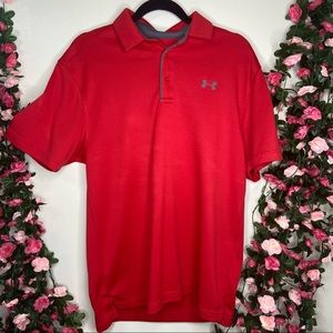 🌹Under Armour Red Polo Shirt Athletic Gym Loose M